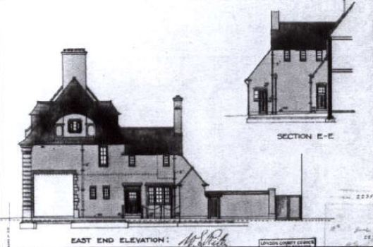 Architect's drawing for the Waltheof Avenue side of Lordship Lane