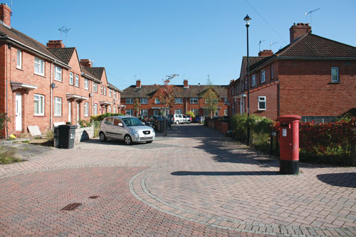 Birkin Street, Dings.  The image shows the estate after a Home Zone initiative completed in 2005 designed to make the area more liveable for pedestrians and cyclists