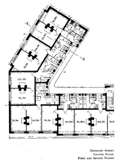 This plan shows the two-room (one bedroom) flats
