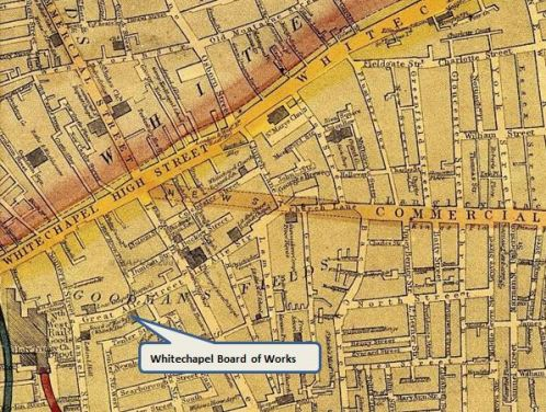 An 1868 map marking the offices of the Whitechapel District Board of Works