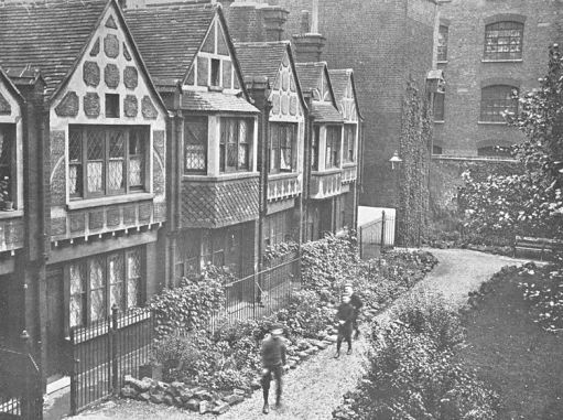 An early view of Octavia Hill's Red Cross Cottages, opened in 1887