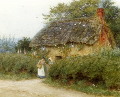 'A Cottage with Sunflowers' at Peaslake, Surrey by Helen Allingham. Undated, probably 1890s