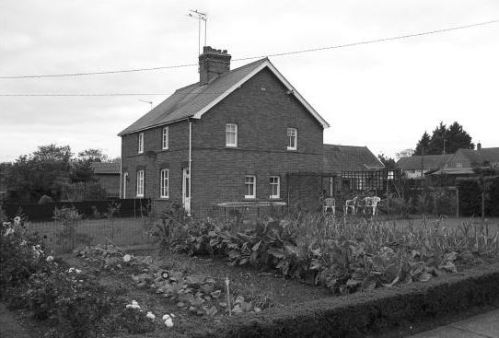 This side view shows the extensive allotment gardens attached to the homes