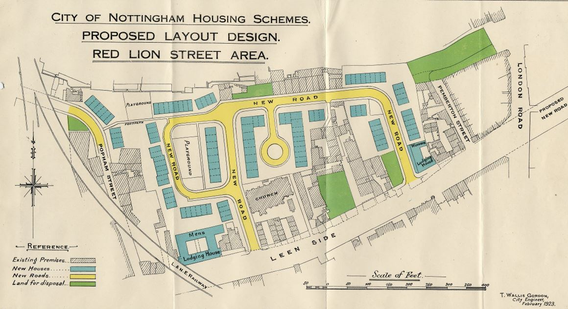 Council plans for the redevelopment of the Red Lion Street area of Narrow March, 1920s